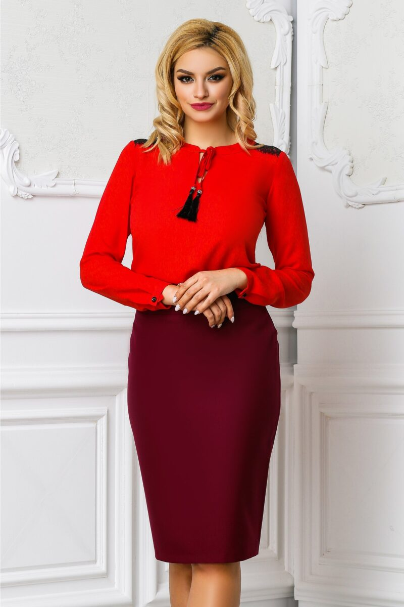Bluza Ema rosu corai office cu dantelaBluze