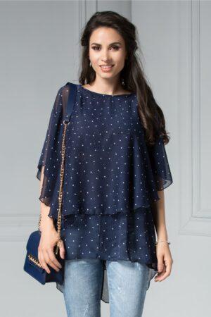 Bluza Tori Bleumarin cu Buline Vaporoasa de VaraBluze