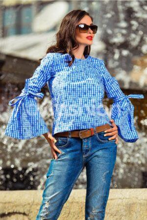 Bluza Vio Albastra cu Maneci EvazateBluze