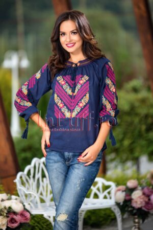 Bluza traditionala bleumarin tip ie cu broderie colorataII TRADITIONALE