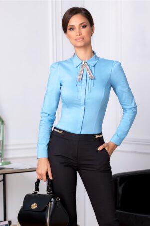 Camasa Fofy bleu office cu brosa cremCamasi