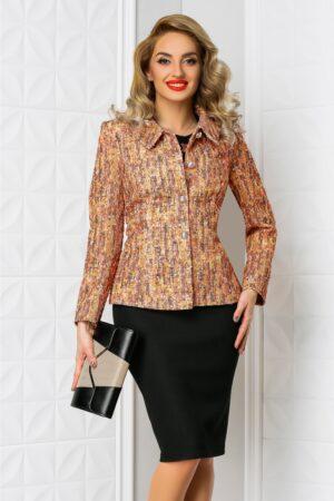 Compleu Lia oranj rochie sacou elegant din 2 pieseCompleuri