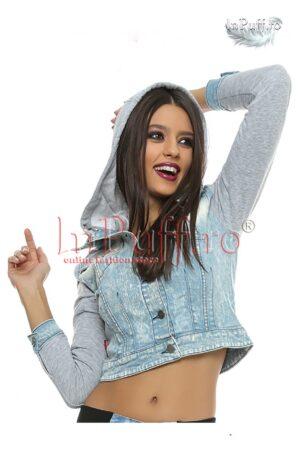 Jacheta de blugi cu maneca lungaPALTOANE si GECI