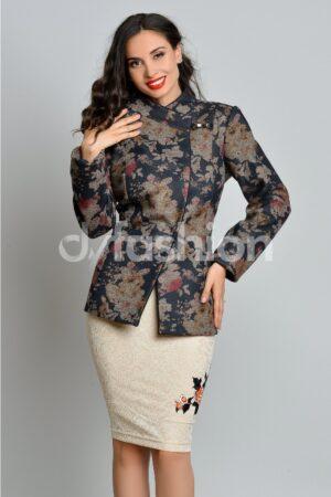 Jacheta din Stofa cu Imprimeuri FloraleJachete