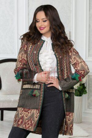 Jacheta eleganta dama accesorizata cu ciucuriPALTOANE si GECI