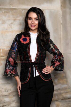 Jacheta sofisticata cu maneci din brocard brodatSACOURI