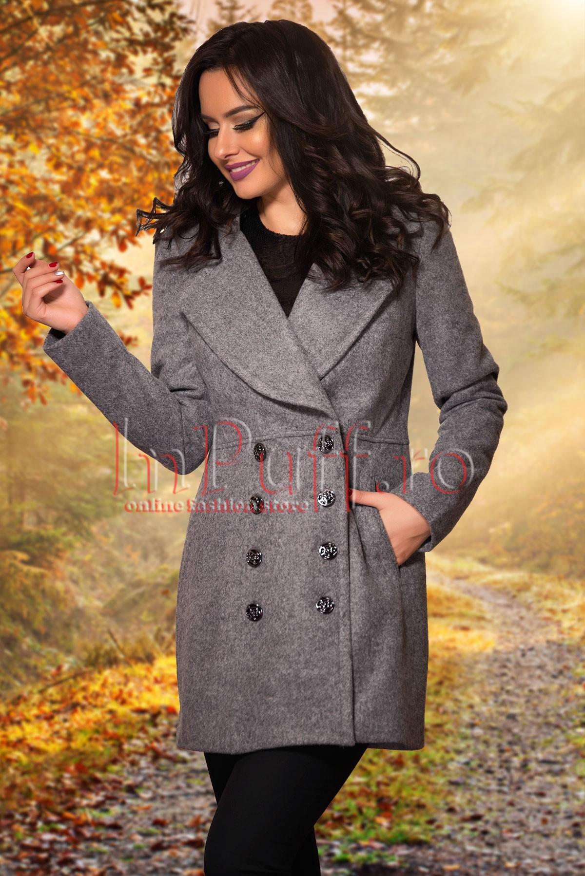 Palton elegant gri din lanaPALTOANE si GECI