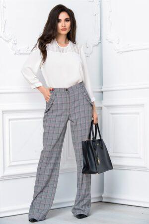 Pantalon Leonard Collection evazat gri officePantaloniGri
