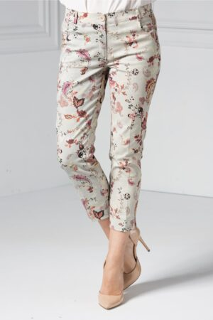 Pantalon dama din bumbac cu imprimeuri coloratePantaloniMulticolor