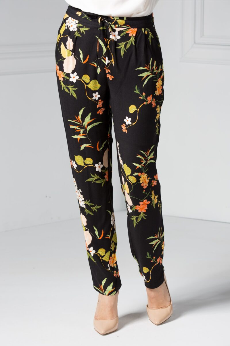 Pantalon dama negri cu imprimeu floral coloratPantaloniNegru