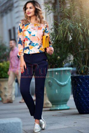 Pantaloni Pretty Girl bleumarin eleganti cu funditePANTALONI  COLANTI