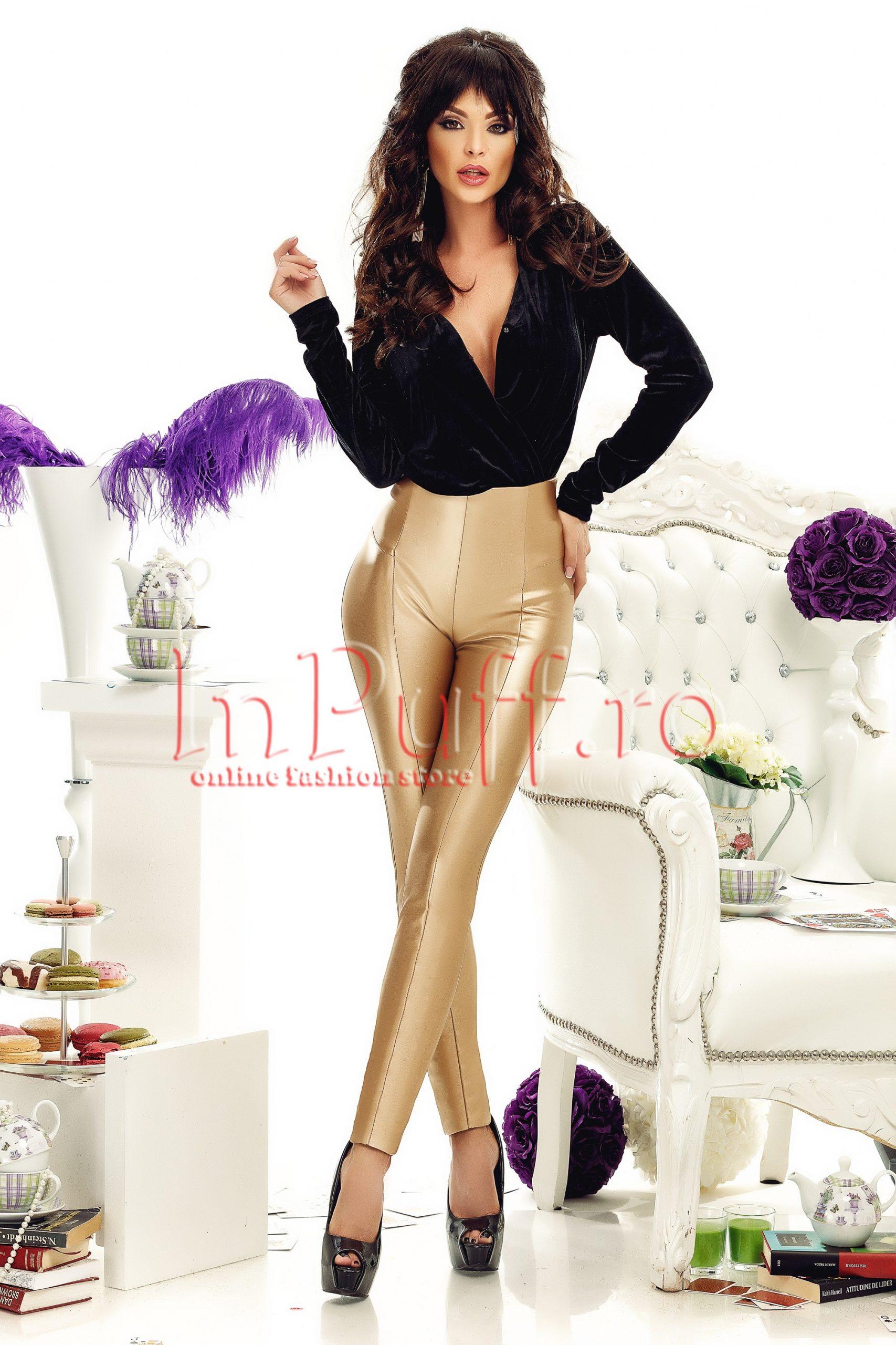 Pantaloni aurii din piele ecologicaPANTALONI  COLANTI