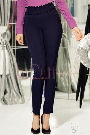Pantaloni bleumarin din stofa cu volane crete in taliePANTALONI  COLANTI