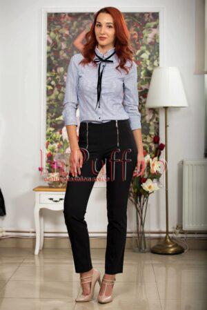 Pantaloni dama negri cu fermoare metalice argintiiPANTALONI  COLANTI