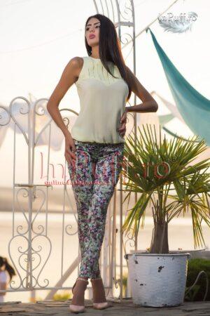 Pantaloni verzi imprimeu floralPANTALONI  COLANTI