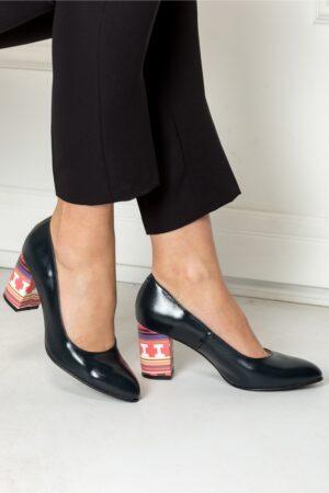 Pantofi Delia bleumarin cu toc imprimat officeIncaltaminteBleumarin