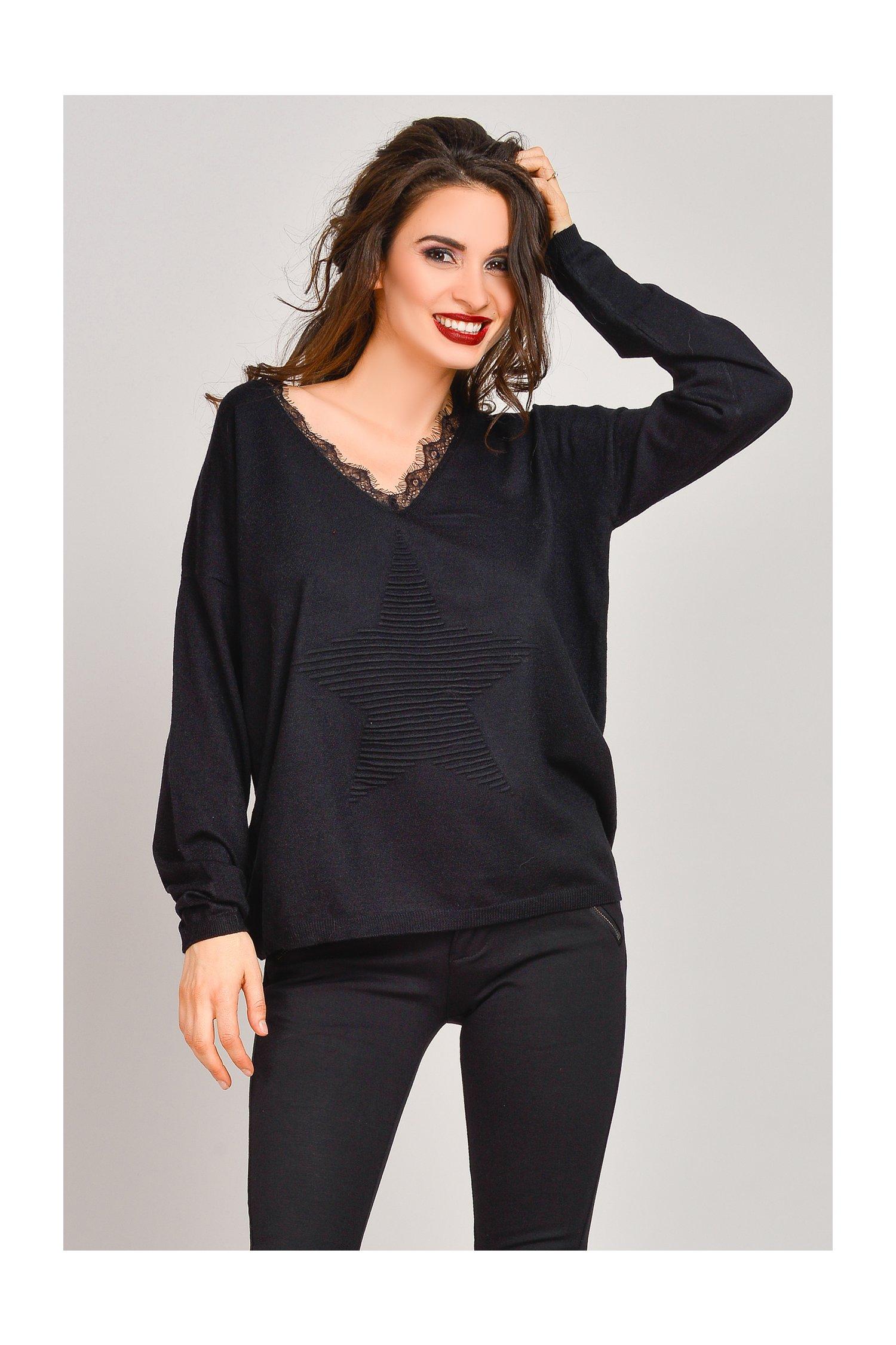 Pulover Havana negru din tricot cu dantelaPulovere