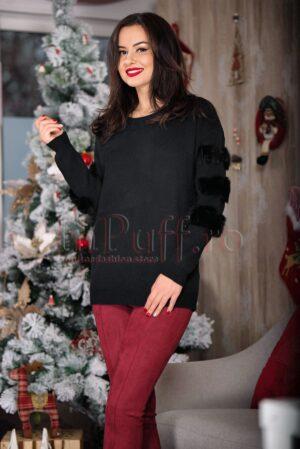 Pulover negru din tricot accesorizat cu blana naturala pe maneciPULOVERE
