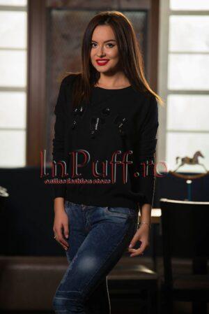 Pulover negru din tricot cu decoratiuniPULOVERE