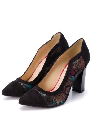 Pantofi negri cu imprimeu fl metalizat cu varf ascutitINCALTAMINTENegru