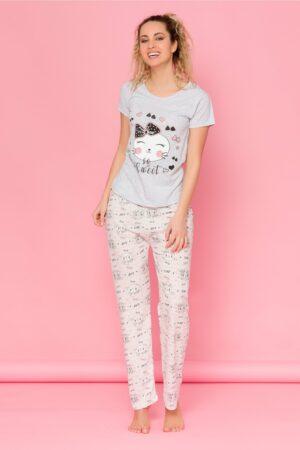 Pijama Cat gri cu dungi si imprimeuri pe pantaloniIMBRACAMINTEGri