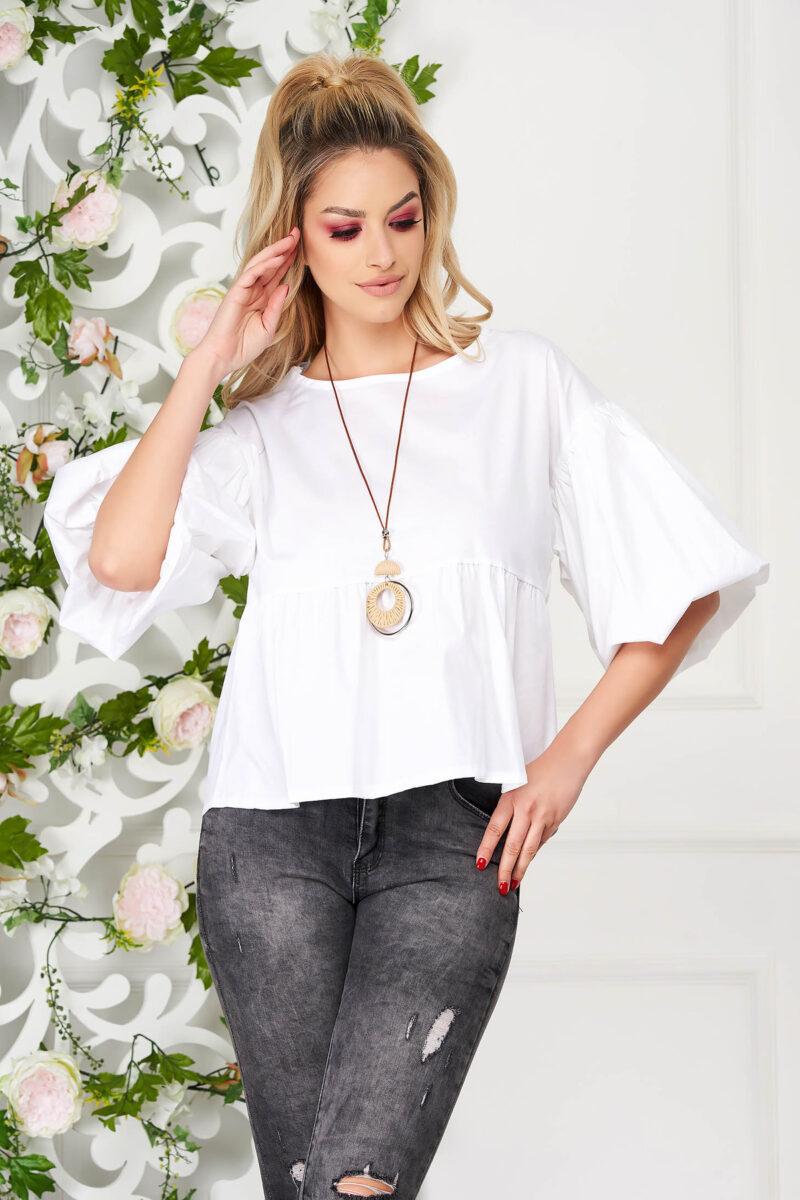 Bluza dama  alba eleganta scurta cu croi larg din bumbac subtire cu accesoriu tip colier