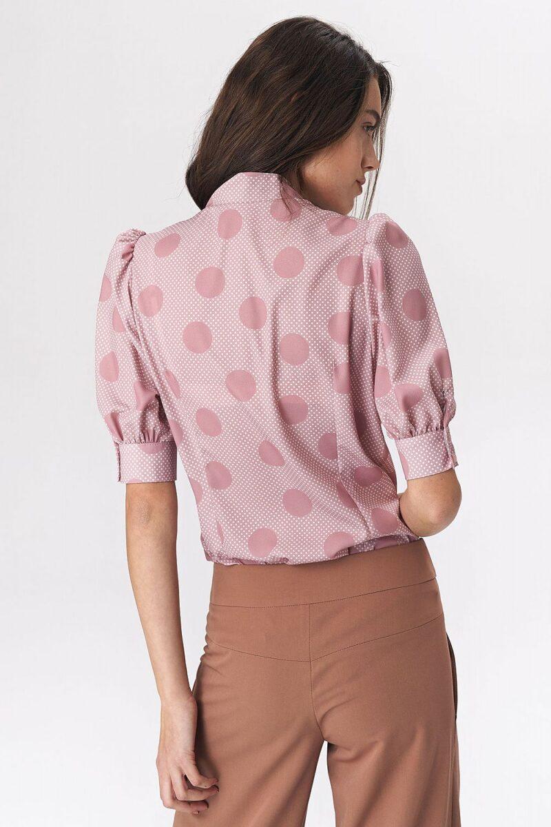 Camasa roz cu buline si maneca bufanta 2