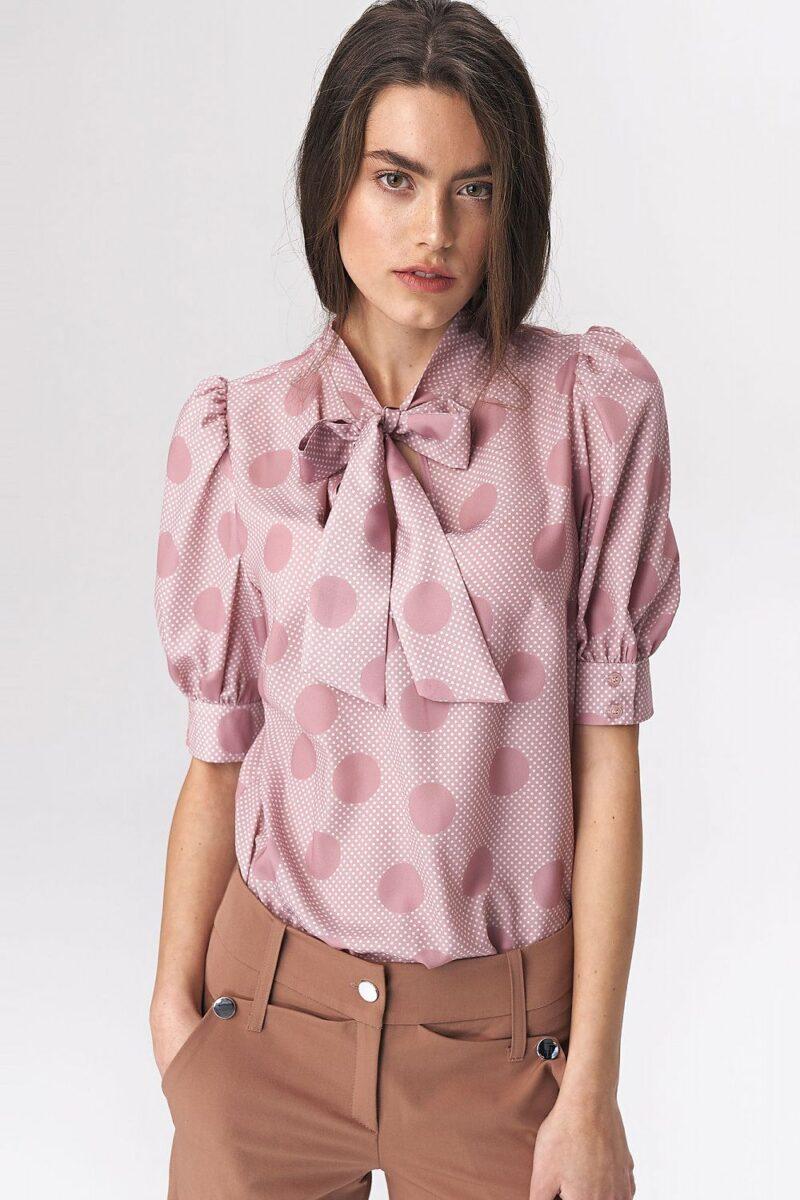 Camasa roz cu buline si maneca bufanta