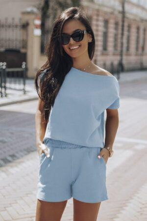 Compleu dama albastru pantaloni scurti si tricou