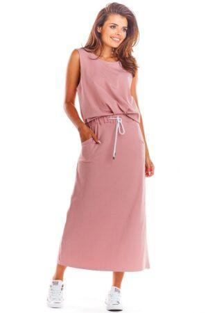 Fusta lunga roz casual din bumbac
