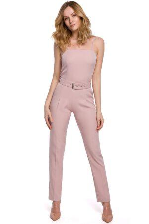 Salopeta pentru femei roz lunga si cu bretele