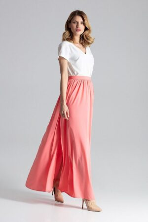 Fusta lunga roz de vara cu slit lateral