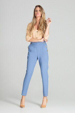Pantaloni albastri casual conici cu buzunare