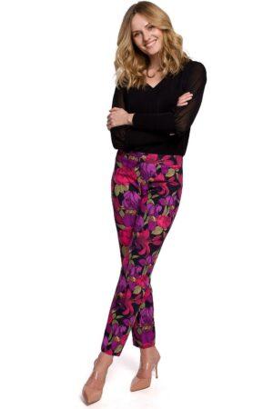 Pantaloni conici cu imprimeu floral