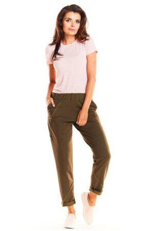 Pantaloni de trening dama verzi din bumbac