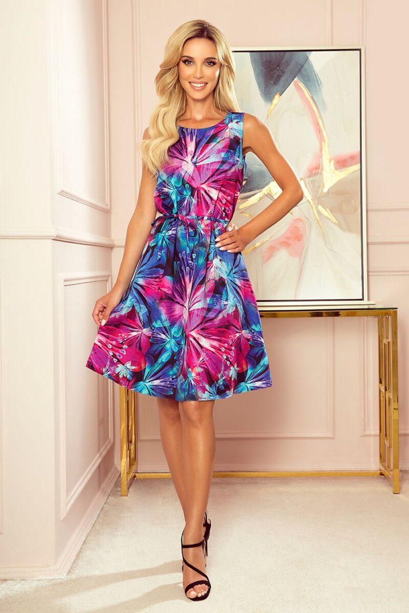 Rochie de zi cu imprimeu floral si croi in forma de A