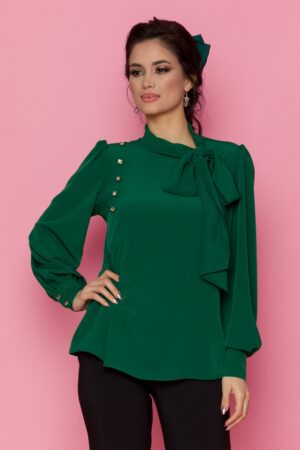Bluza  verde cu detaliu stil esarfa la guler si nasturi decorativi tip bijuterie