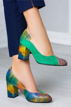Pantofi office verzi cu imprimeuri