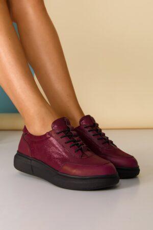 Pantofi sport bordo cu sireturi