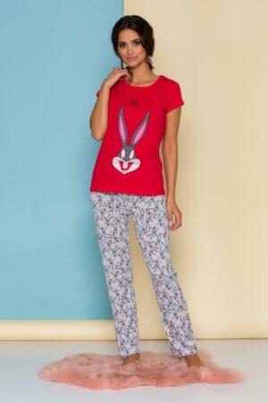 Pijama  cu bluza rosie si pantaloni gri cu imprimeuri