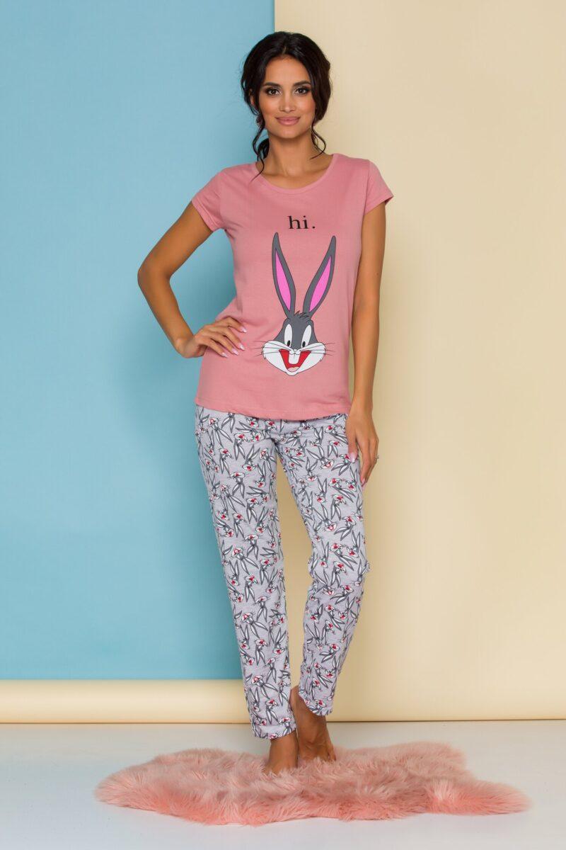 Pijama  cu bluza roz si pantaloni gri cu imprimeuri