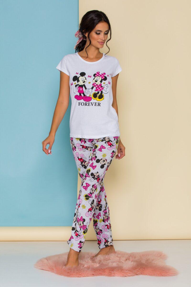 Pijama cu tricou alba si pantaloni gri