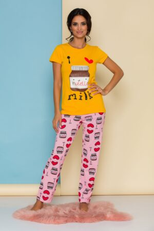 Pijama  cu tricou galben si pantaloni roz
