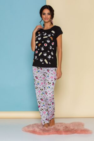 Pijama  cu tricou negru si pantaloni gri