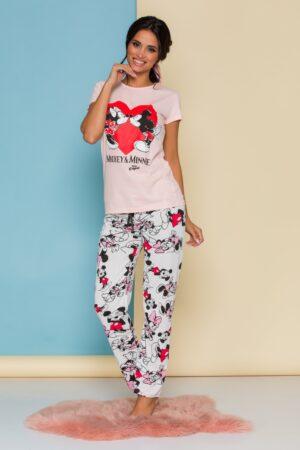 Pijama  cu tricou roz si pantaloni albi cu imprimeu