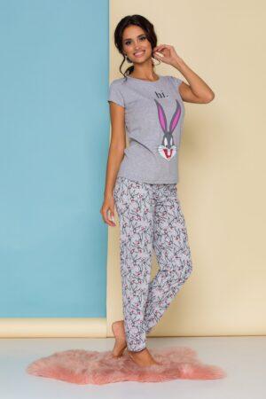 Pijama  gri cu imprimeuri