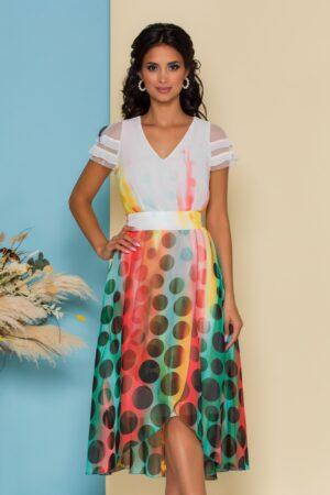 Rochie alba cu buline si imprimeuri colorate in degrade