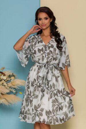 Rochie alba cu imprimeuri florale kaki