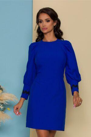 Rochie  albastra cu maneci usor bufante