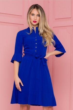 Rochie albastra cu nasturi la bust si volanase la maneci